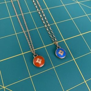 Genuine LV Tan Fleur Charm Repurposed Necklace
